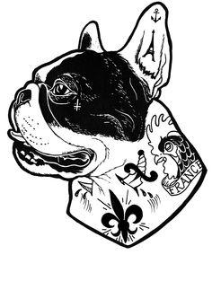 Drawn bulldog black and white Bulldog … French for