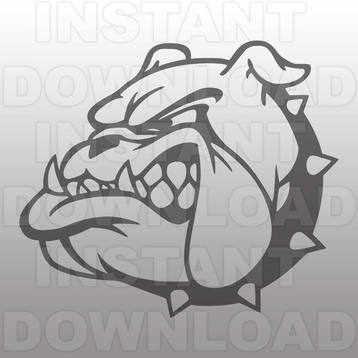 Drawn bulldog black and white Cameo File File Mascot and