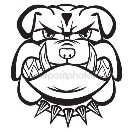 Drawn bulldog black and white White black bulldog Stock Royalty