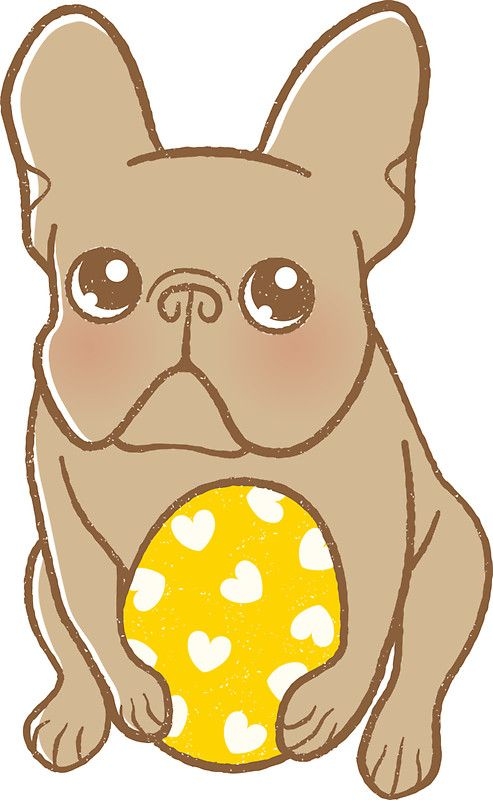 Drawn bulldog chibi Frenchie Egg and Easter