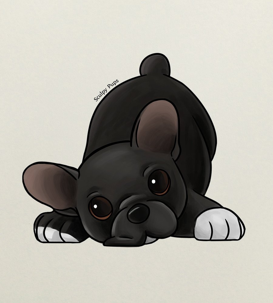 Drawn bulldog chibi French SculpyPups drawing by