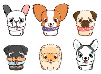 Drawn bulldog chibi Set illustration illustrations Vector de