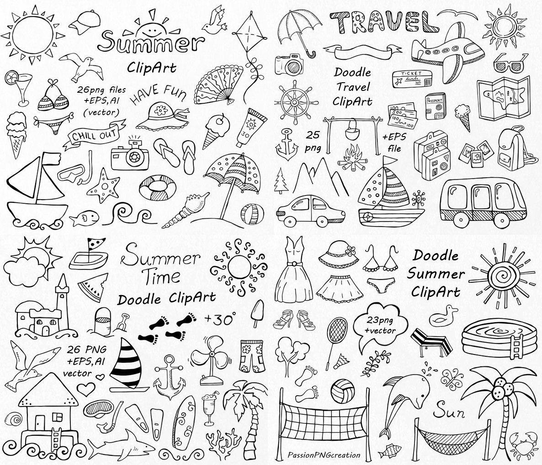 Drawn bullet clipart SET Doodle Hand Summer cliparts