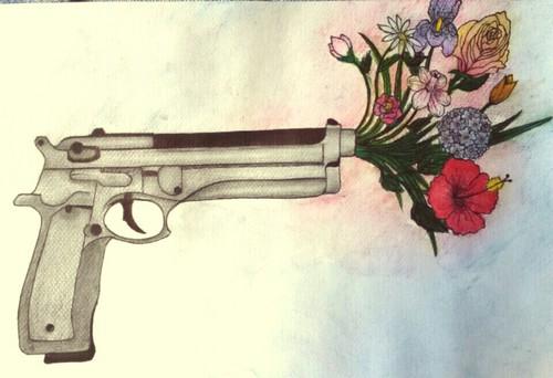 Drawn bullet gun shooting #4