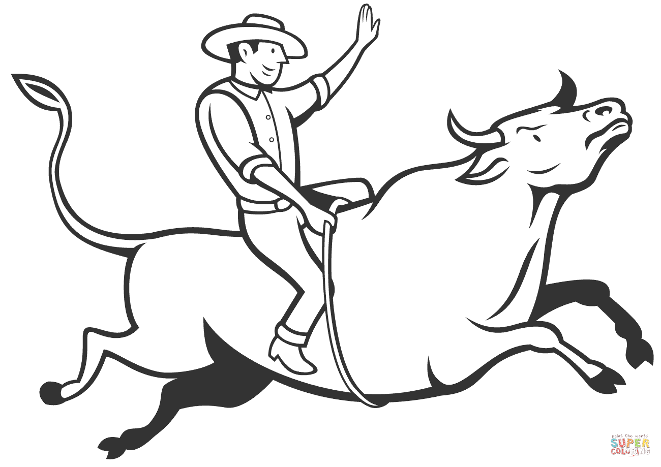 Drawn bull rodeo bull Rodeo Android Riding pages printable