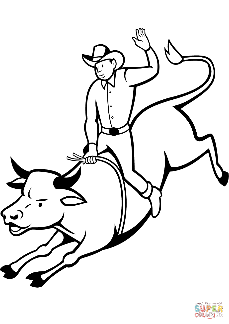 Drawn bull rodeo bull Bull tablets) coloring to version