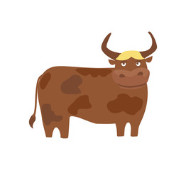 Drawn bulls cute Hand on vector cattle bull