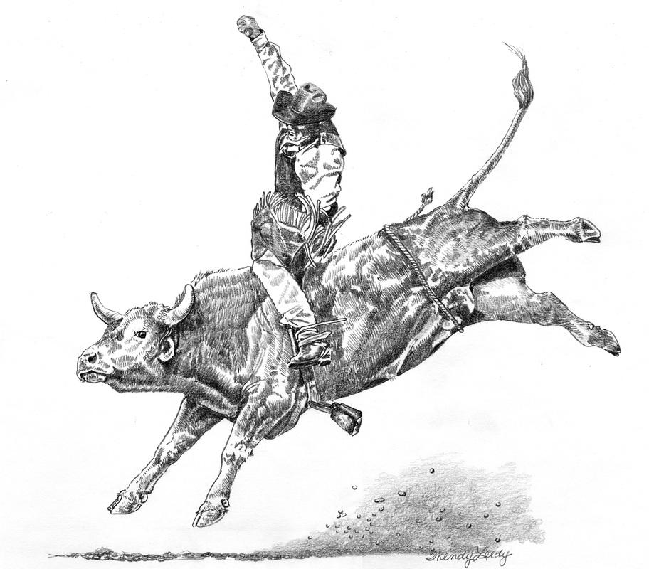 Drawn bull rodeo bull Rodeo LEEDY Riding Bullfighter WENDY