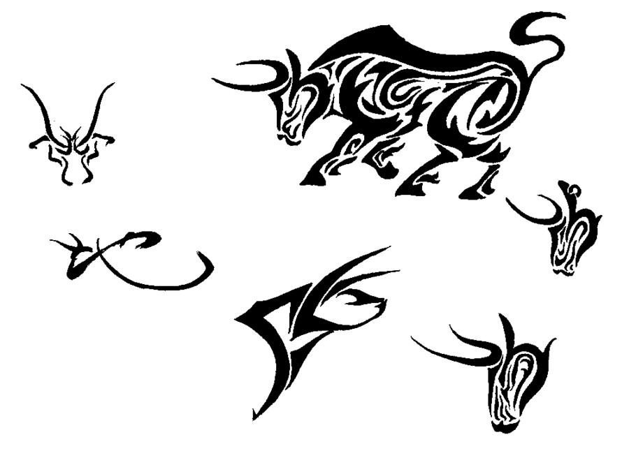 Drawn bulls simple Bull Design Bull Sabloane