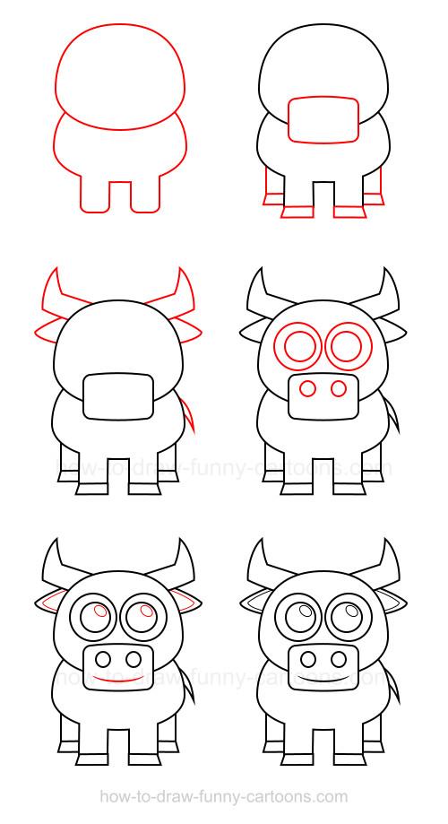 Drawn bulls simple A to bull draw How