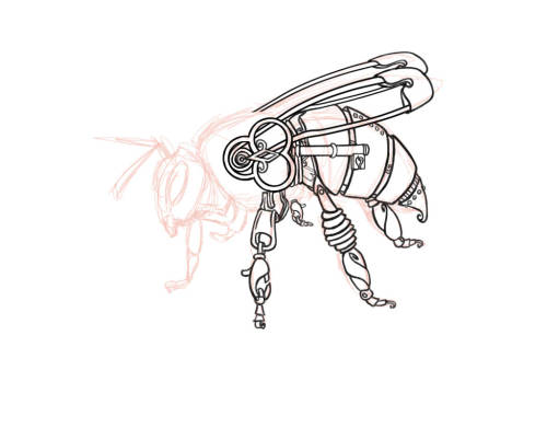 Drawn bumblebee steampunk And was working it steampunk