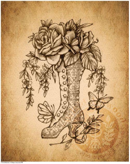 Drawn bumblebee steampunk +$  Victorian+Steampunk+Damask+Boot+Flowers++Art+by+brigidashwood Victorian boots