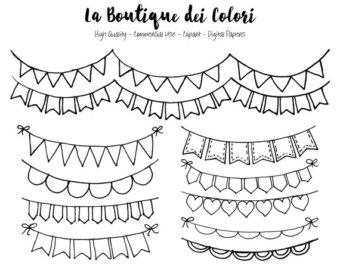 Drawn bunting Drawn doodle Bunting Clip Art