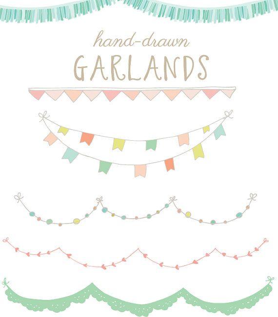 Drawn bunting Art Garlands Hand Flags: 44
