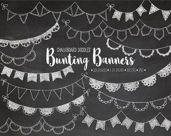 Drawn bunting vector Art Chalkboard Garland Bunting Hand