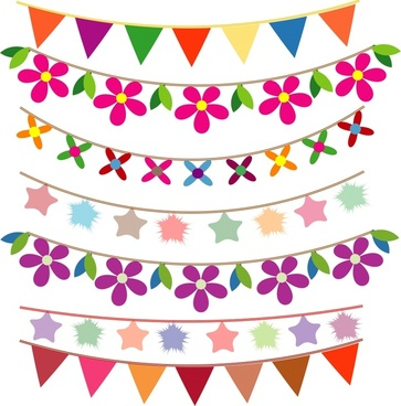 Drawn bunting vector Free simple use buntings vector