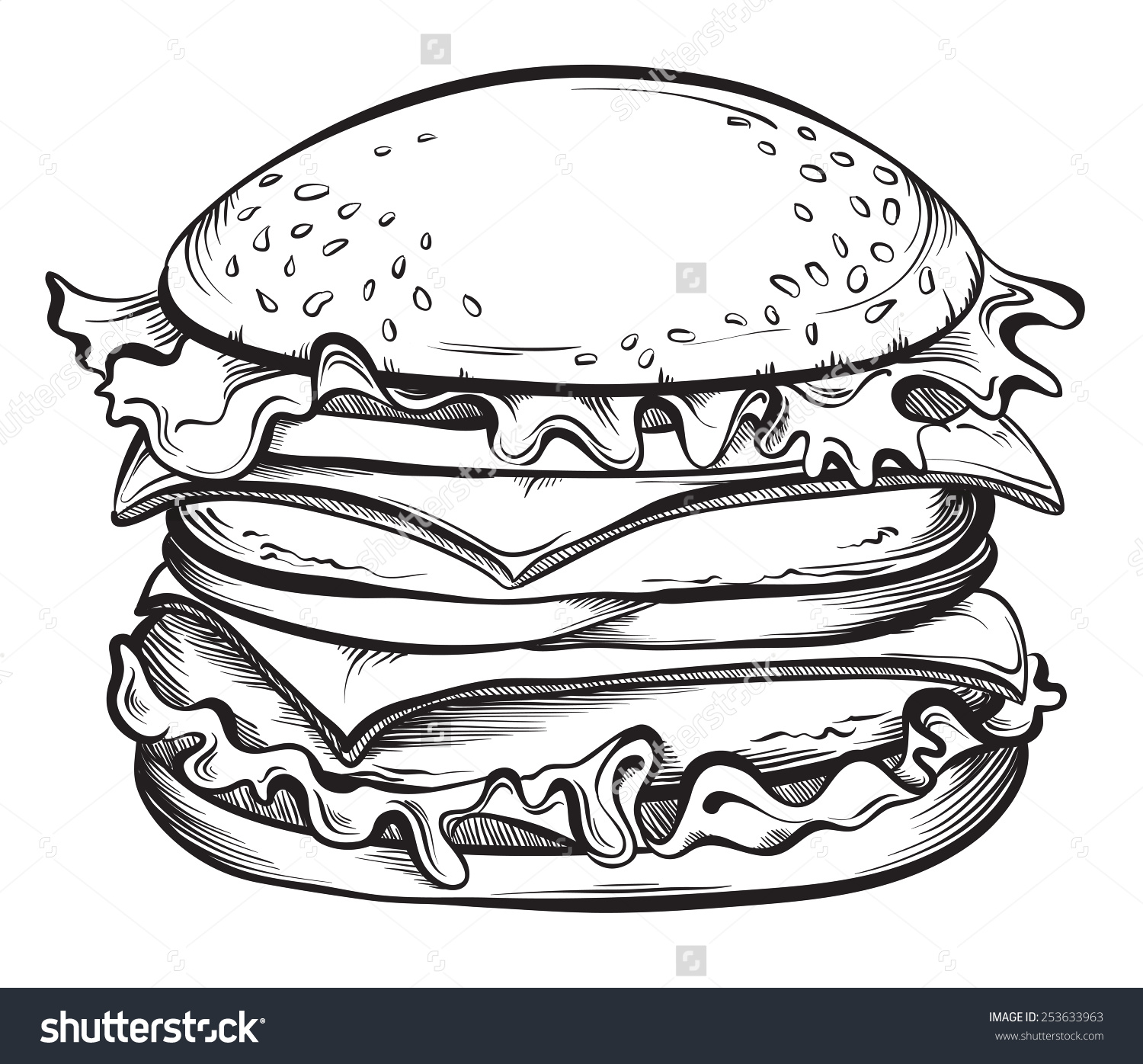 Drawn hamburger And Search illustration black Works