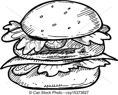 Burger clipart drawn Of Vector drawn hand hand