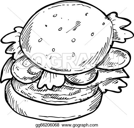 Burger clipart drawn  gg66206068 Clip Vector gg66206068