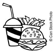 Burger clipart black and white Art 973 Fries 18 Burger