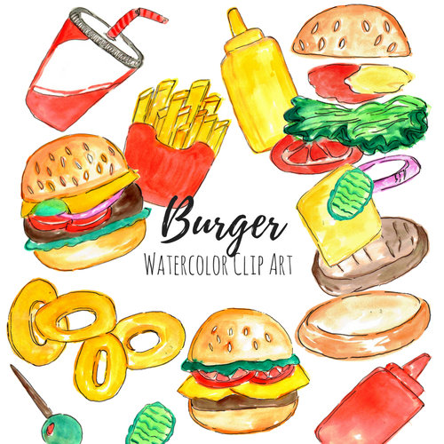 Burger clipart drawn Drawn set a and hand