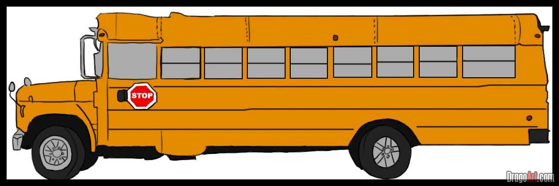 Drawn cartoon bus #4