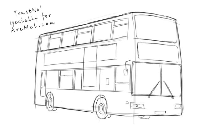 Drawn bus coach bus #14