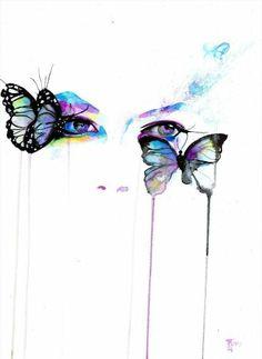 Drawn butterfly eye EyesButterfliesBug  drawing Agnes flower