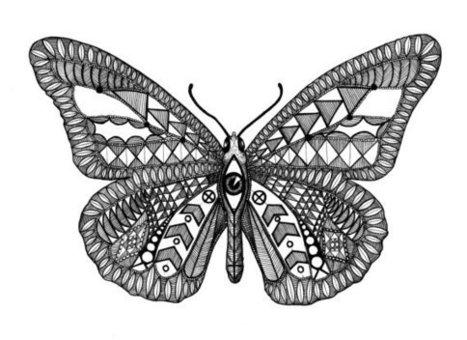 Drawn butterfly eye Black Hand Digital Patterned Art