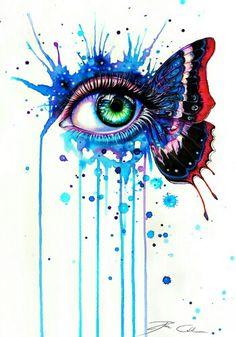 Drawn butterfly eye EyesButterfliesEye by In DeadOceans @deviantART