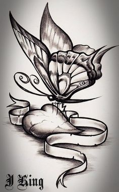 Drawn butterfly heart With this Heart tattoo more