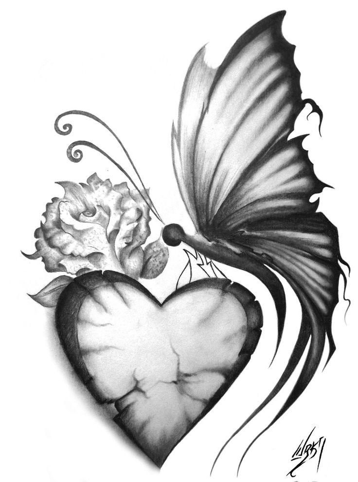 Drawn butterfly heart Drawing Google Pinterest Buscar on