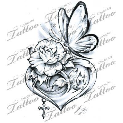 Drawn butterfly heart Tattoos Tattoo heart  Heart
