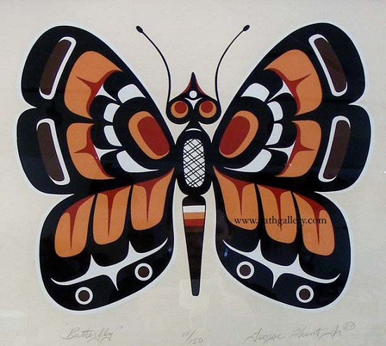 Drawn butterfly native american A First serigraph print Butterfly
