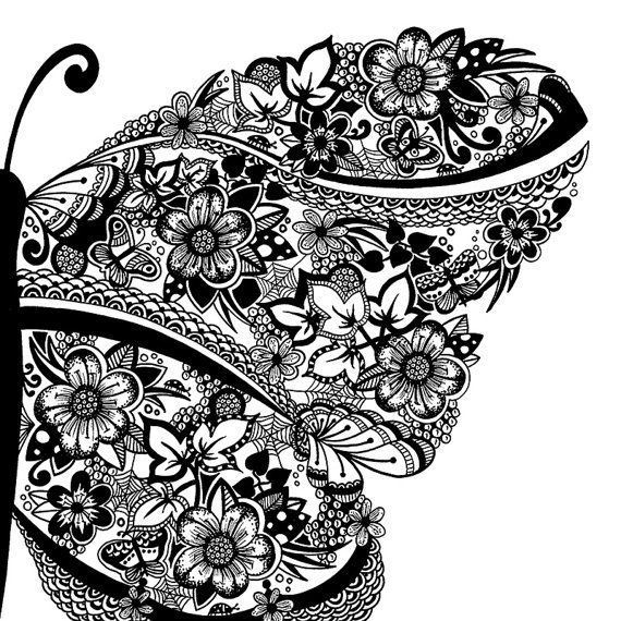 Drawn butterfly pen A 7 and 167 coloring