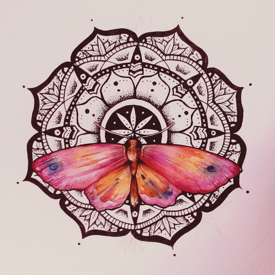 Drawn butterfly psychedelic Elenoosh by watercolor Mandala by