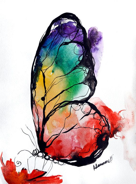 Drawn butterfly rainbow Picture Unusual art art Butterfly