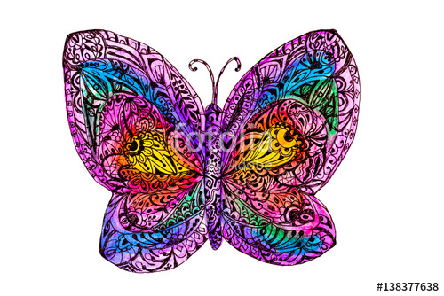 Drawn butterfly rainbow Drawn for for zen watercolor