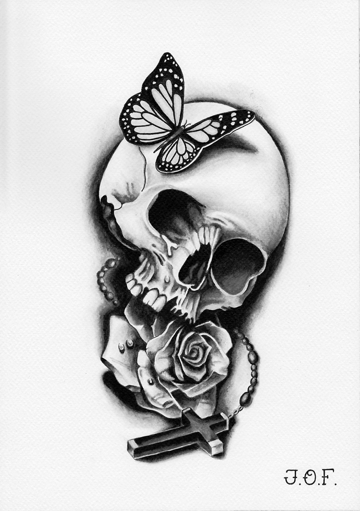 Drawn butterfly skull rose Butterfly cross Flash rose Grayscale