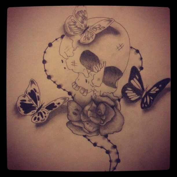 Drawn butterfly skull rose Butterfly Skull  sketch and