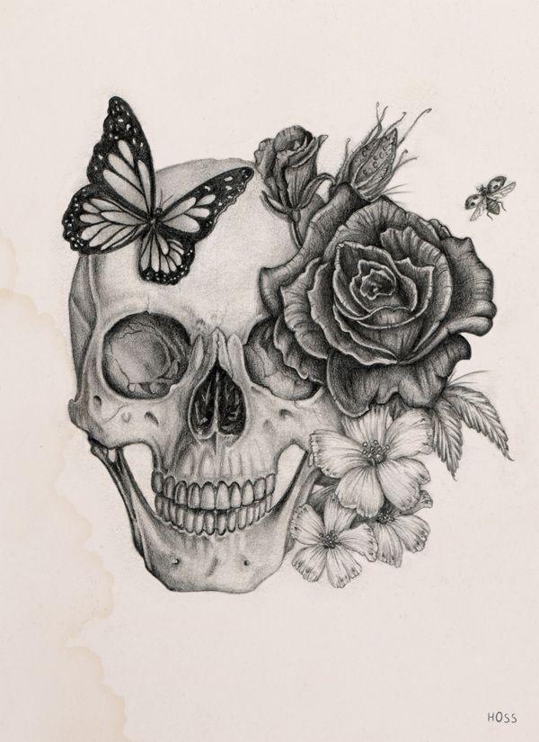 Drawn butterfly skull rose Via by tattoos ideas Best