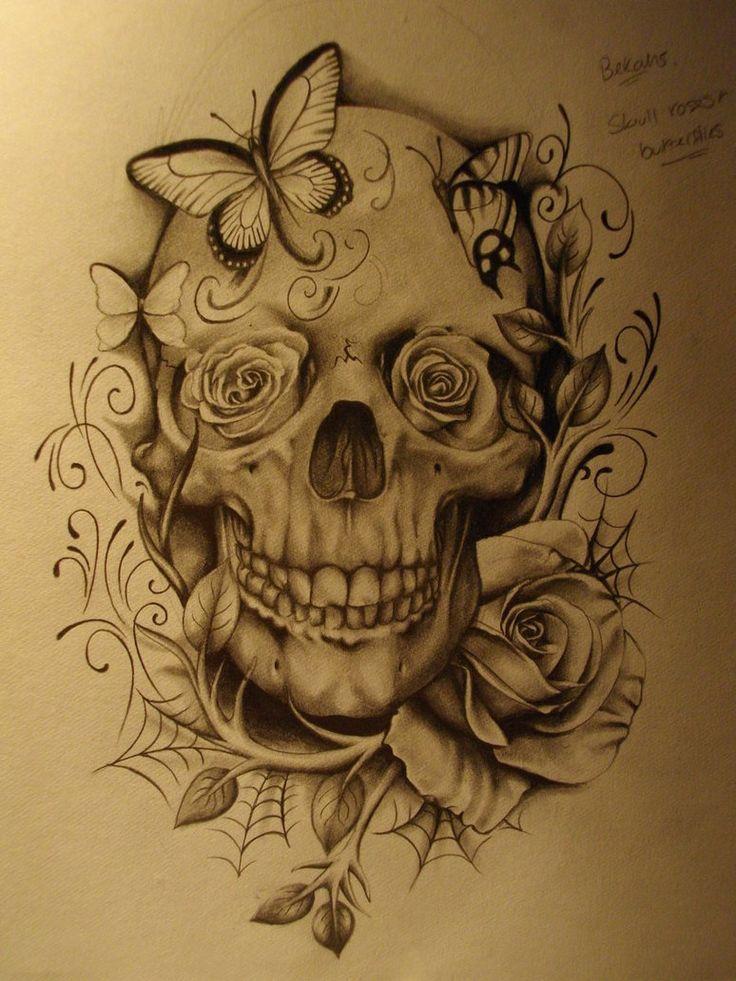 Drawn butterfly skull rose Deviantart roses ideas Skull on