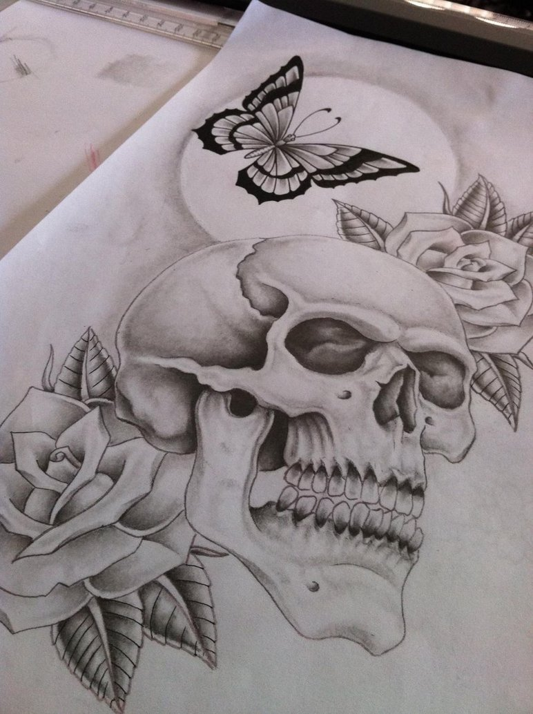 Drawn butterfly skull rose Butterfly by finished skull on