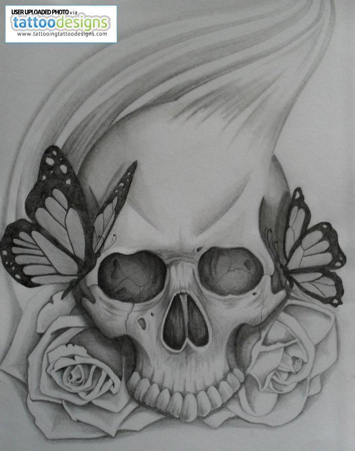 Drawn butterfly skull rose Image By következővel ötlet Tattoo