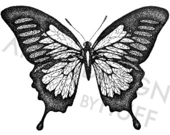 Drawn butterfly stippling Etsy Butterfly drawing Stipple Drawing