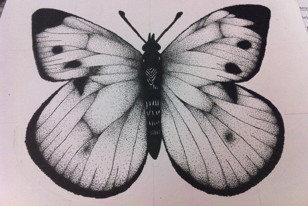 Drawn butterfly stippling On DeviantArt Stipple waffleseattacos by
