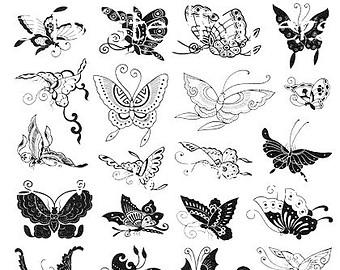 Drawn butterfly stylized Collage Sheet Butterfly Stylized Art