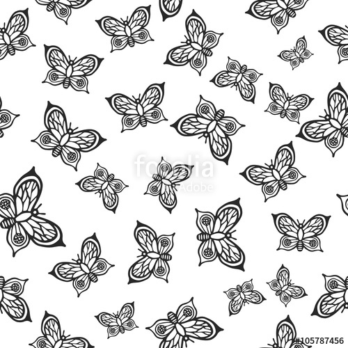 Drawn butterfly texture vector Insects with white insect insects