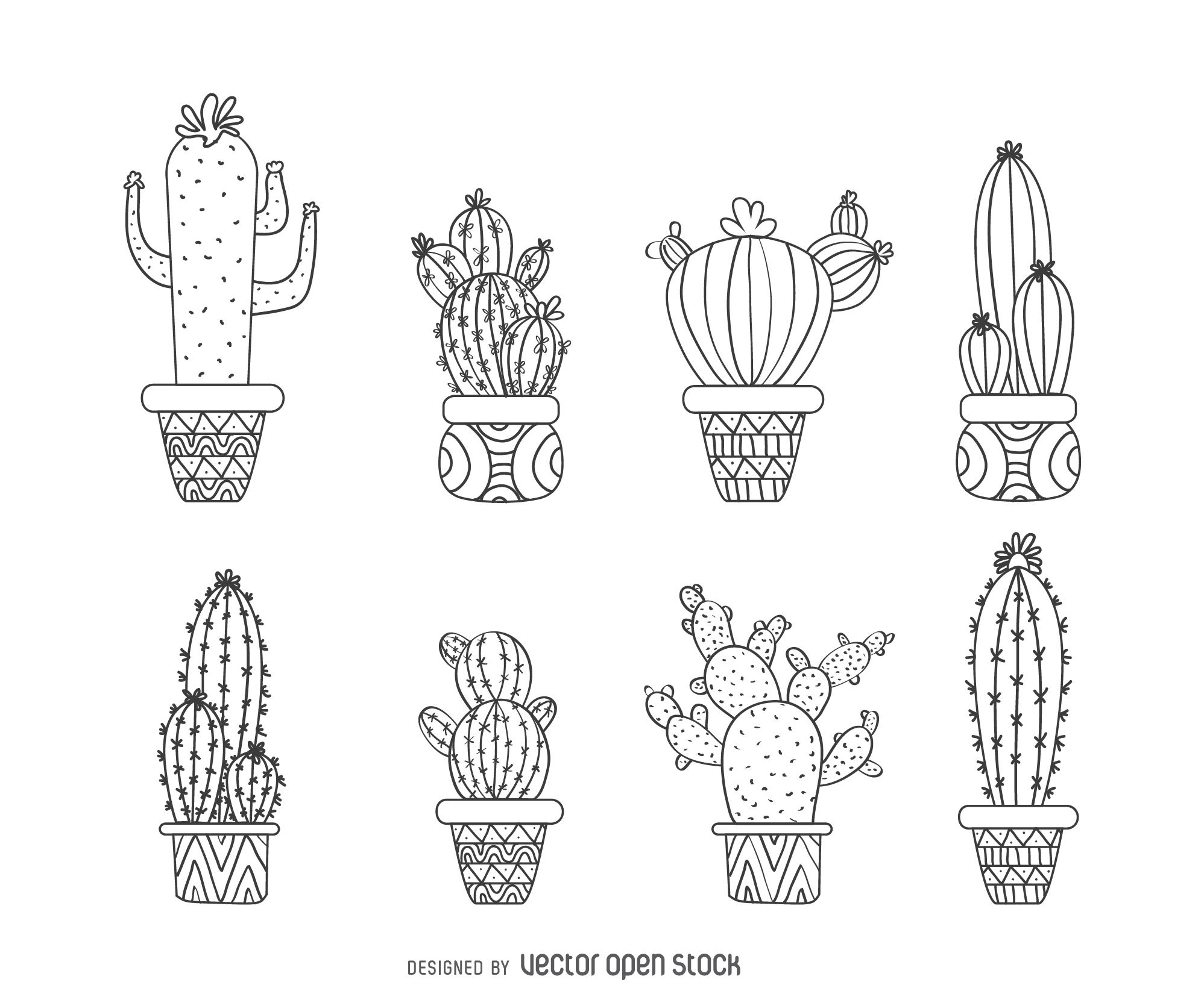Drawn cactus Cactus outline collection Download Vector