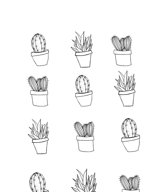 Drawn cactus Mini Print  Drawn by